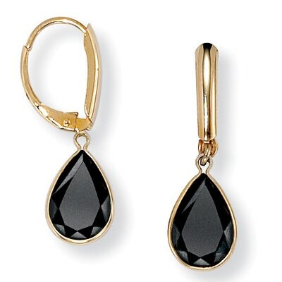 PalmBeach Jewelry 14k Gold Plated Faceted Pear Shaped Onyx Earrings at Sears.com
