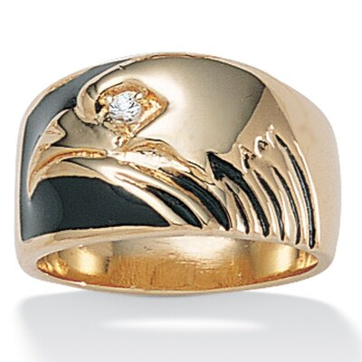 PalmBeach Jewelry Gold Plated Men's Cubic Zirconia Eagle Ring - Size: 11