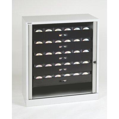 Premium Multimedia 5-Drawer Tambour Cabinet Finish: Light Gray