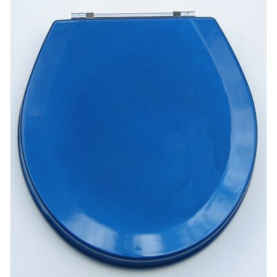 Premium Wood Toilet Round Wood Seat Finish: Metallic Blue