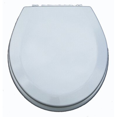 Premium Wood Toilet Round Wood Seat Finish: Metallic Silver
