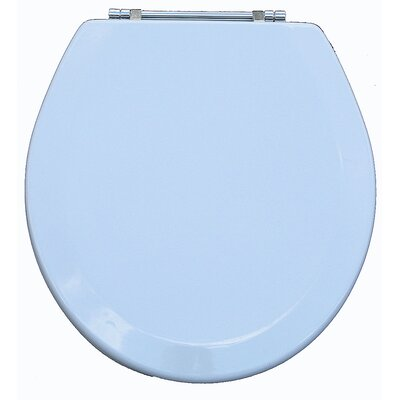Premium Wood Toilet Round Wood Seat Finish: Metallic White