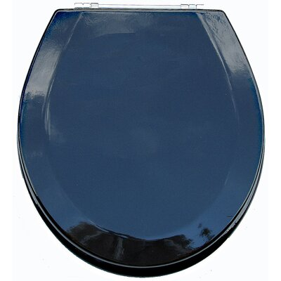 Premium Wood Toilet Round Wood Seat Finish: Metallic Black