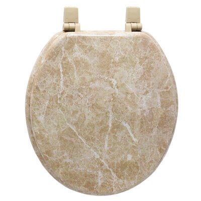 Marbleized Molded Wood Toilet Seat in Tan