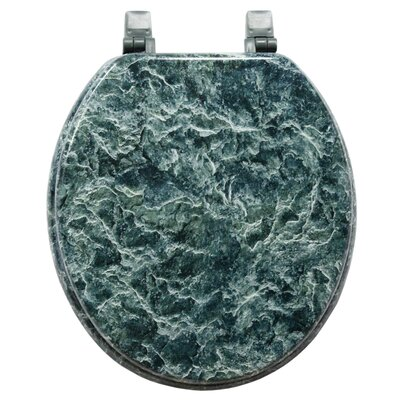 Marbleized Molded Wood Round Toilet Seat Finish: Green