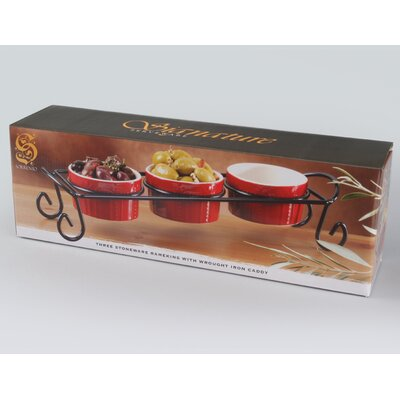 Sorrento Ruby Ramekins with Caddy (Set of 3)