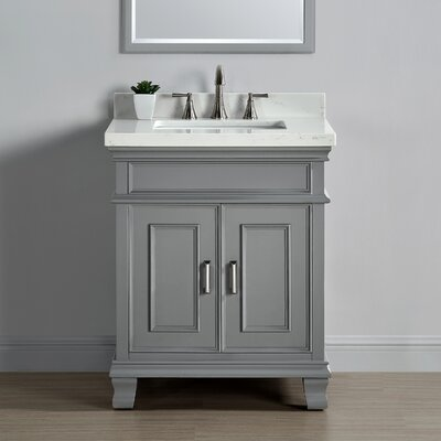 Anneke 28 Single Bathroom Vanity Set Top Finish: White Marbled Quartz, Base Finish: Pewter Gray