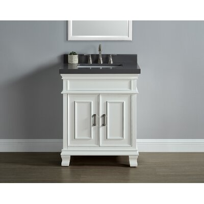 Anneke 28 Single Bathroom Vanity Set Top Finish: Gray Quartz, Base Finish: Traditional White