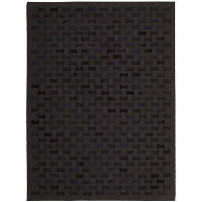 Delvecchio Hand-Woven Black Area Rug Rug Size: Rectangle 53 x 75