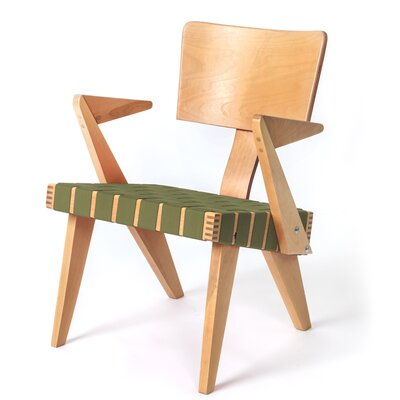 Spanner Armchair Body Fabric: Green, Leg Color: Light Birch