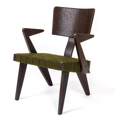 Spanner Armchair Body Fabric: Green, Leg Color: Dark Birch