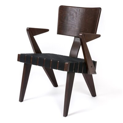 Spanner Armchair Body Fabric: Black, Leg Color: Dark Birch
