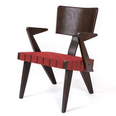 Spanner Armchair Body Fabric: Red, Leg Color: Dark Birch