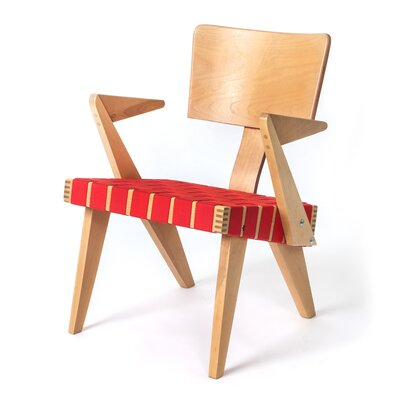 Spanner Armchair Body Fabric: Red, Leg Color: Light Birch