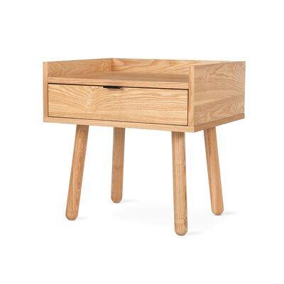 Mimico End Table Finish: Ash Natural, Hardware Finish: Black