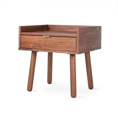 Mimico End Table Color: Walnut, Hardware Color: Brass