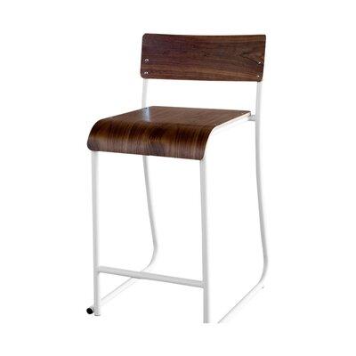 Church 24 Bar Stool Frame color: White powder coat, Upholstery: Walnut natural