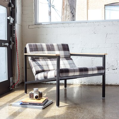 Halifax Armchair Upholstery: Tartan Shadow, Frame Finish: Black Powder Coat