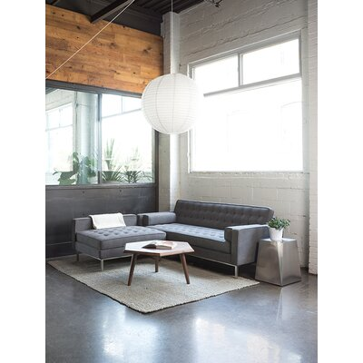 Spencer Loft Reversible Sectional Body Fabric: Oxford Quartz, Leg Color: Walnut
