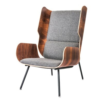 Elk Wingback Chair Upholstery: Varsity Charcoal