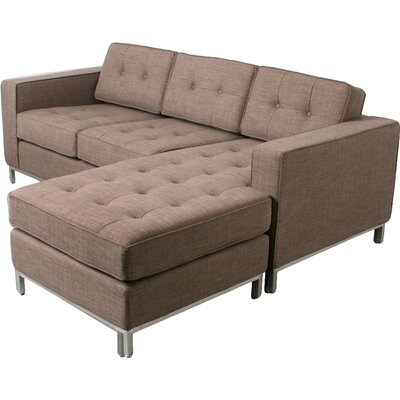 Jane Loft Reversible Sectional Upholstery: Totem Storm, Finish: Stainless Steel, Size: 30 H x 82 W x 65 D