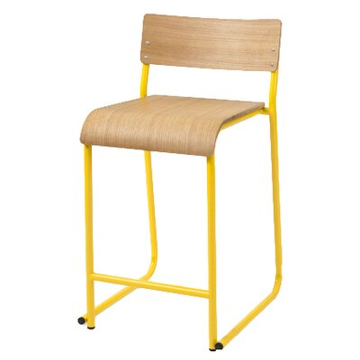 Church 24 Bar Stool Upholstery: Oak natural, Frame color: Canary Powder Coat