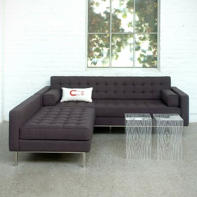 Spencer Loft Modular Sectional Color: Urban Tweed - Ink, Finish: Stainless Steel