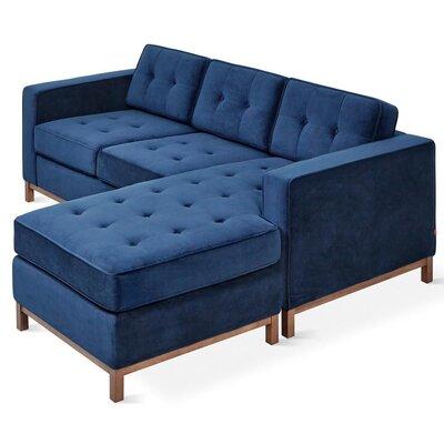 Jane Loft Bi-Sectional Upholstery: Velvet Midnight, Finish: Walnut