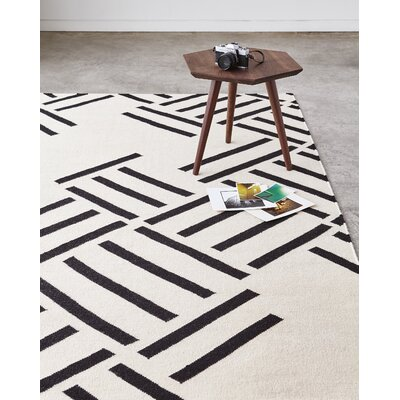 Hatch Contrast Handmade Kilim Wool Beige Area Rug Rug Size: Rectangle 4 X 6