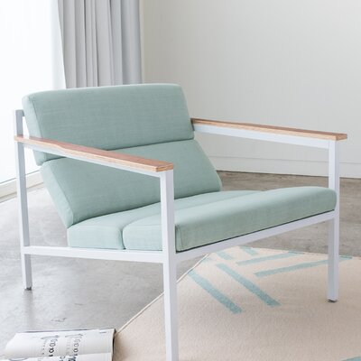 Halifax Armchair in White Powder Coat Berkeley Mint