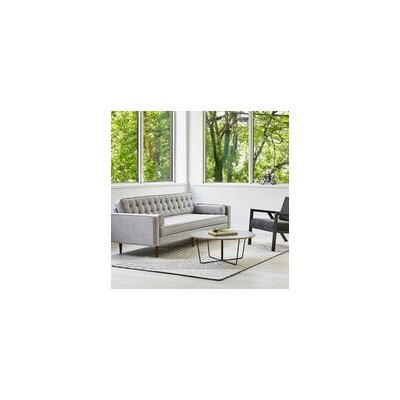 Spencer Sofa Body Fabric: Light Gray, Leg Finish: Wood