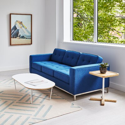 Jane Sofa Body Fabric: Blue, Leg Finish: Stainless