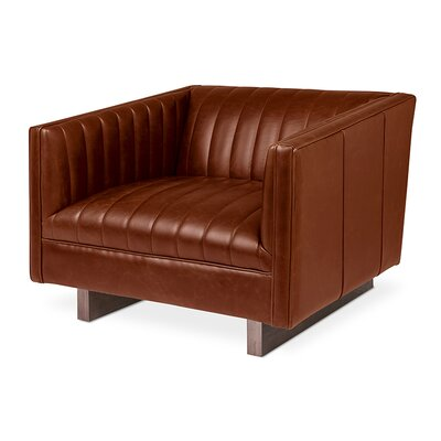 Wallace Chair Saddle Leather Body Fabric: Brown
