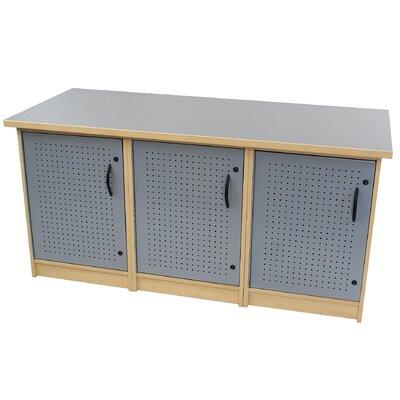 "Paragon Furniture 65"" 3 Box Technology Storage Unit - Top Finish: Natural Tigris, Frame Finish: Studio Teak"