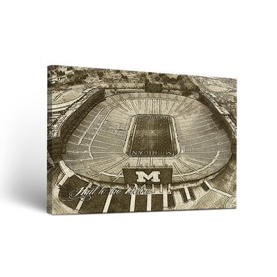 Michigan Wolverines Landscape Design 2 Wall Art on Wrapped Canvas Size: 18
