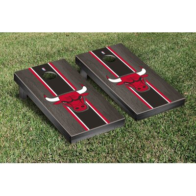 NBA Stained Stripe Version Cornhole Game Set NBA Team: Chicago Chi Bulls VT28585
