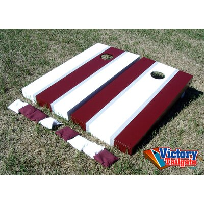 Victory Tailgate Alternating Striped Cornhole Bean Bag Toss Game - Color: White and Marron at Sears.com