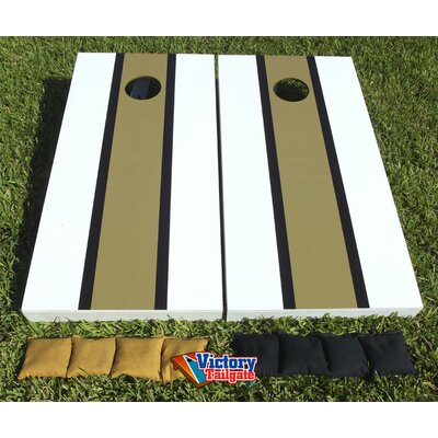 Victory Tailgate Matching Striped Cornhole Bean Bag Toss Game - Color: Dark Gold and White with Black Stripes at Sears.com