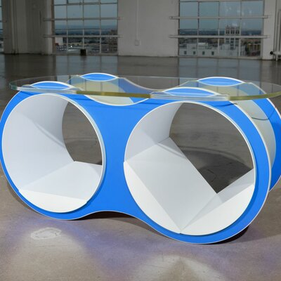 BOLLA 2 Coffee Table Base Finish: Arctic Blue, Top Finish: Standard Oval Glass Top