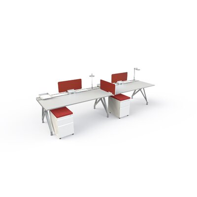 Eyhov Front 14 H x 31 W Desk Privacy Panel Finish: Red