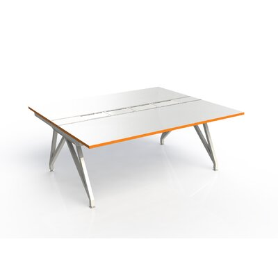 Eyhov Rail Double Open Workstation Finish: White Gloss/Tangerine