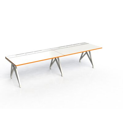 Eyhov Rail Duo Open Workstation Finish: White Gloss/Tangerine