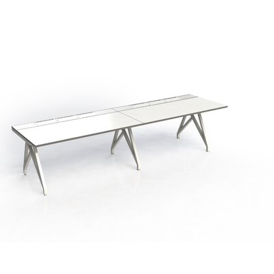 Eyhov Rail Duo Open Workstation Finish: White Gloss/Scale Green
