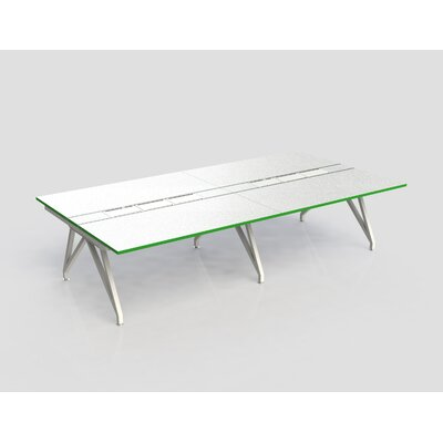 Eyhov Rail Quad Open Workstation Finish: White Gloss/Scale Green