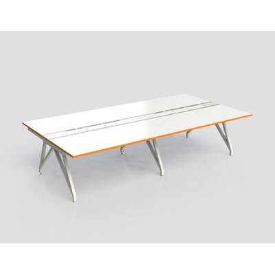 Eyhov Rail Quad Open Workstation Finish: Matte White/Tangerine