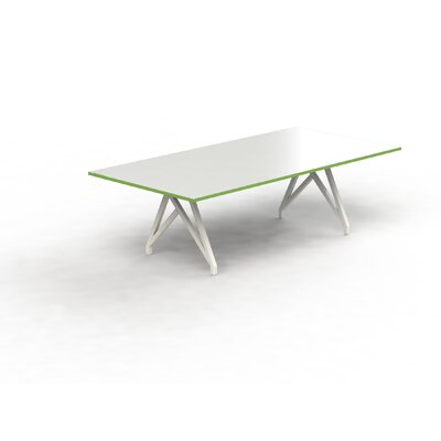 Think Tank 8 Rectangular Conference Table Top Finish: White Gloss/Storm Green