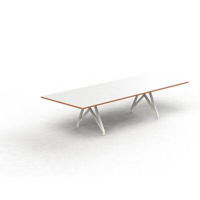 Think Tank Rectangular 31H x 120W x 48L Conference Table Top Finish: White Matte/Tangerine, Size: 31 H x 144 W x 48 D