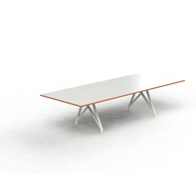 Think Tank Rectangular 31H x 120W x 48L Conference Table Top Finish: White Gloss/Tangerine, Size: 31 H x 120 W x 48 D