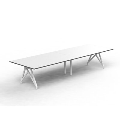Think Tank Rectangular 31H x 120W x 48L Conference Table Top Finish: White Matte/Storm Gray, Size: 31 H x 144 W x 48 D
