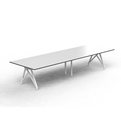 Think Tank Rectangular 31H x 120W x 48L Conference Table Top Finish: White Gloss/Storm Gray, Size: 31 H x 120 W x 48 D
